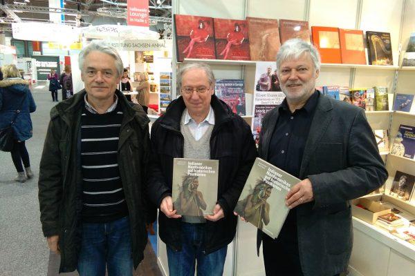Leipziger Buchmesse 2018, Autoren Siegfried Jahn (Mitte) und Rudolf Oeser (links)