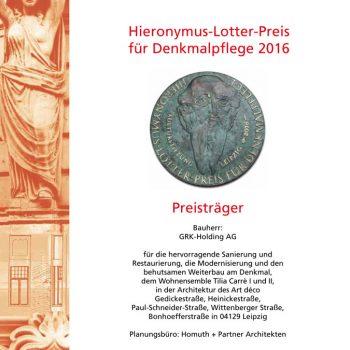 Hieronymus-Lotter-Preis, Urkunde, 2016
