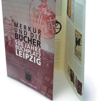 Merkur und die Bücher – 500 Jahre Buchplatz Leipzig, Faltblatt, 1997